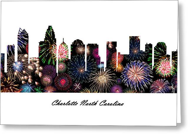 Charlotte Digital Art Greeting Cards - Charlotte North Carolina Fireworks Skyline Greeting Card by Gregory Murray