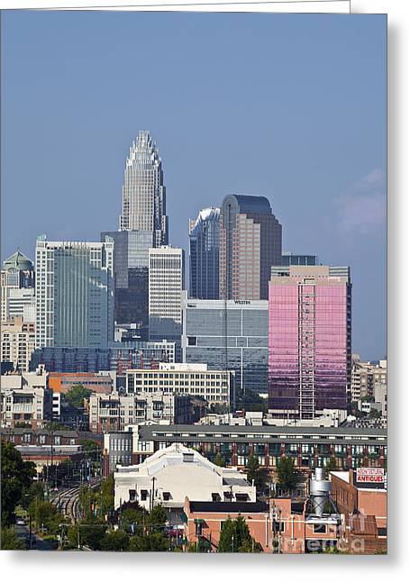 Uptown Rooftop Greeting Cards - Charlotte Skyline Greeting Card by Jill Lang