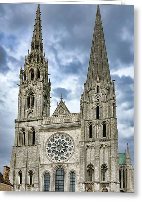 Medieval Architecture Greeting Cards - Chartres Cathedral Greeting Card by Olivier Le Queinec