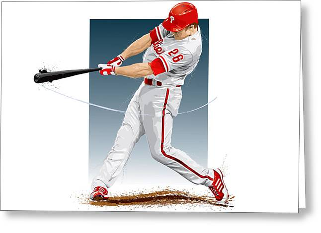 Citizens Bank Greeting Cards - Chase Utley Greeting Card by Scott Weigner