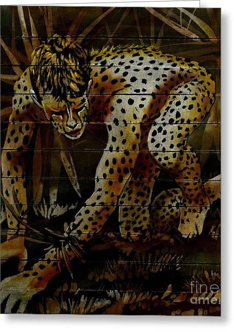 Morphed Paintings Greeting Cards - Cheetah Greeting Card by Robert D McBain