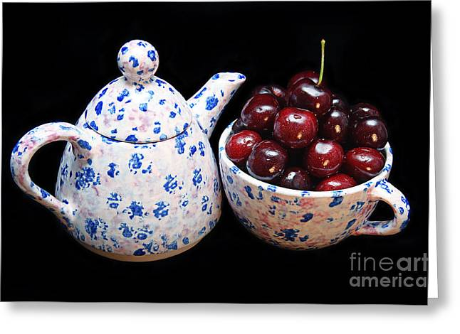 Cherries Invited To Tea Greeting Card by Andee Design