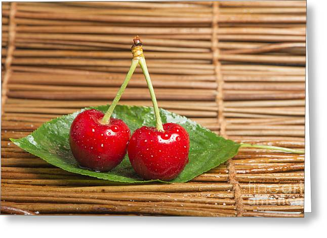 Healthy Greeting Cards - Cherry branch with leaves Greeting Card by Deyan Georgiev