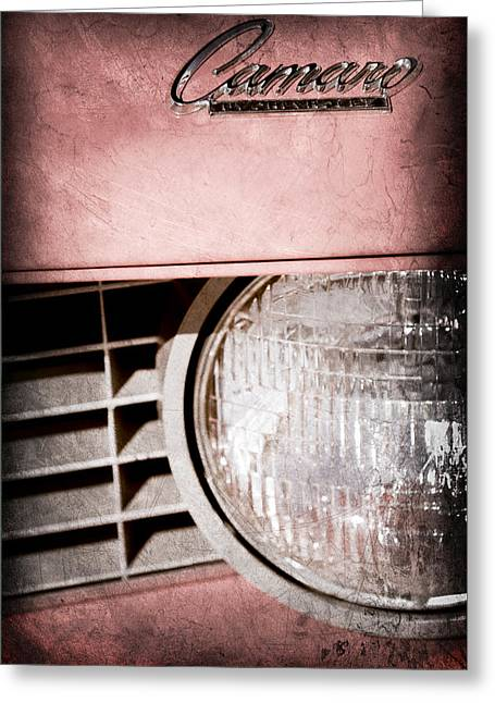 Headlight Greeting Cards - Chevrolet Camaro Headlight Emblem Greeting Card by Jill Reger
