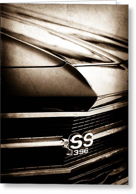 Chevrolet Chevelle Greeting Cards - Chevrolet Chevelle SS 398 Grille Emblem Greeting Card by Jill Reger