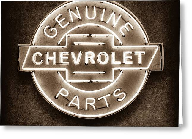 Genuine Greeting Cards - Chevrolet Neon Sign Greeting Card by Jill Reger