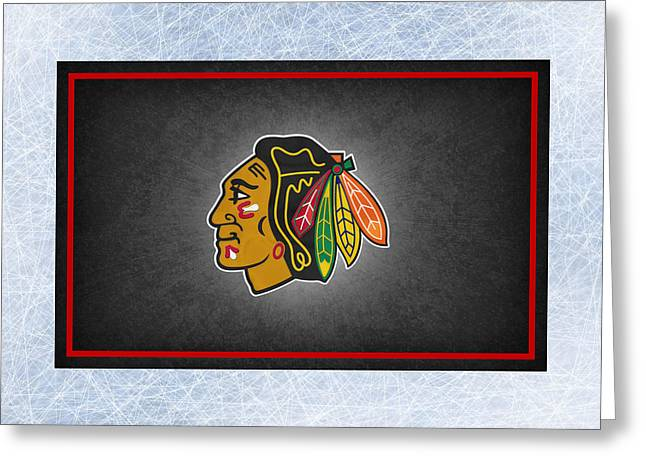 Skate Greeting Cards - Chicago Blackhawks Greeting Card by Joe Hamilton