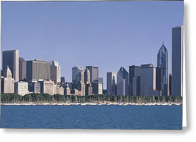 Boats On Water Greeting Cards - Chicago Il Greeting Card by Panoramic Images