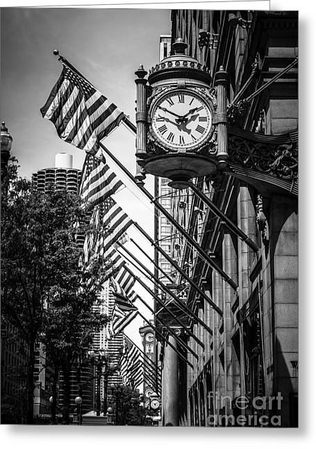 Theatre Photographs Greeting Cards - Chicago Macys Clock in Black and White Greeting Card by Paul Velgos