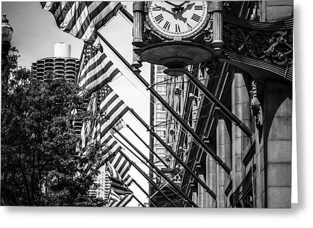 Chicago Macy's Clock in Black and White Greeting Card by Paul Velgos