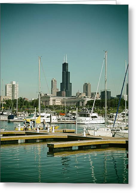 Sailboat Photos Greeting Cards - Chicago Marina Greeting Card by Mountain Dreams