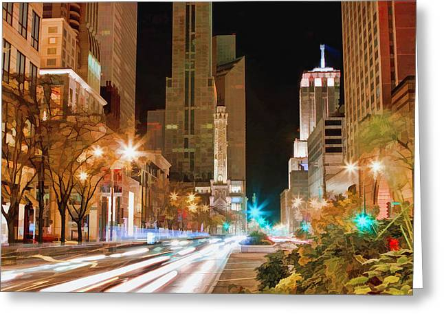 Water Tower Greeting Cards - Chicago Michigan Avenue Light Streak Greeting Card by Christopher Arndt