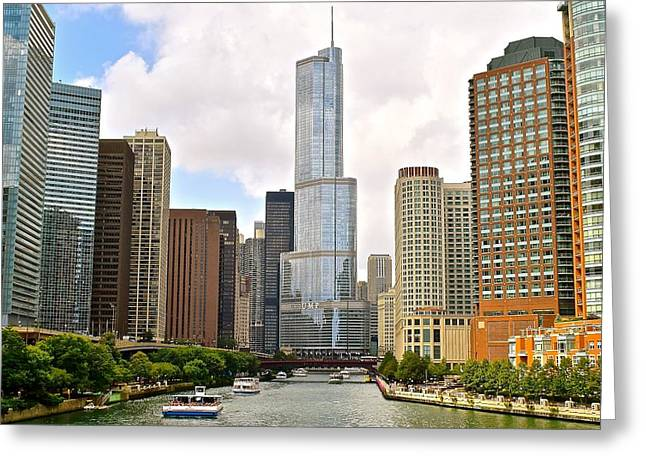 Inner World Greeting Cards - Chicago River View Greeting Card by Frozen in Time Fine Art Photography