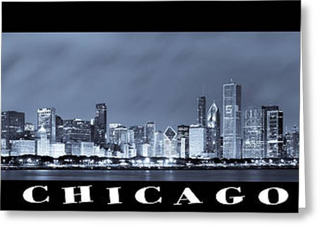 Hancock Greeting Cards - Chicago Skyline at Night Greeting Card by Sebastian Musial