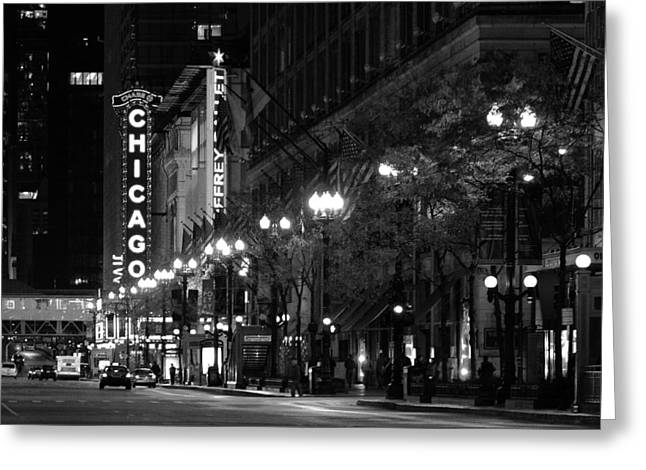 Chicago Theatre At Night Greeting Card by Christine Till