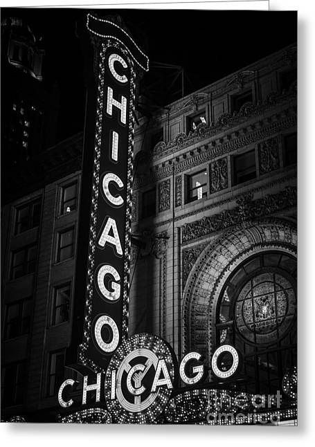 Theatre Photographs Greeting Cards - Chicago Theatre Sign in Black and White Greeting Card by Paul Velgos