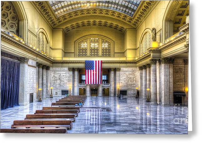 Metra Greeting Cards - Chicagos Union Station Greeting Card by Twenty Two North Photography