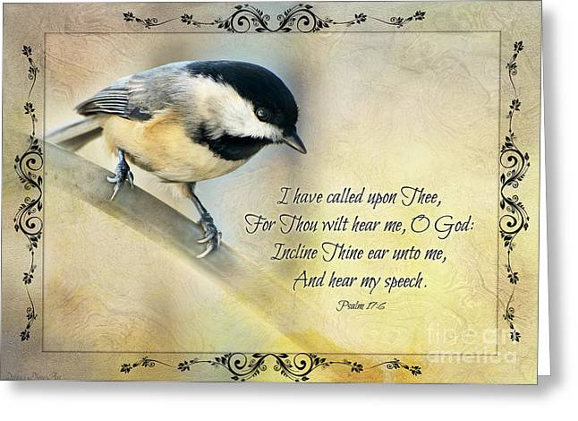 Chickadee Greeting Cards Greeting Cards - Chickadee with Verse Greeting Card by Debbie Portwood