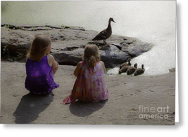 Ducklings Greeting Cards - Children at the Pond 3 Greeting Card by Madeline Ellis
