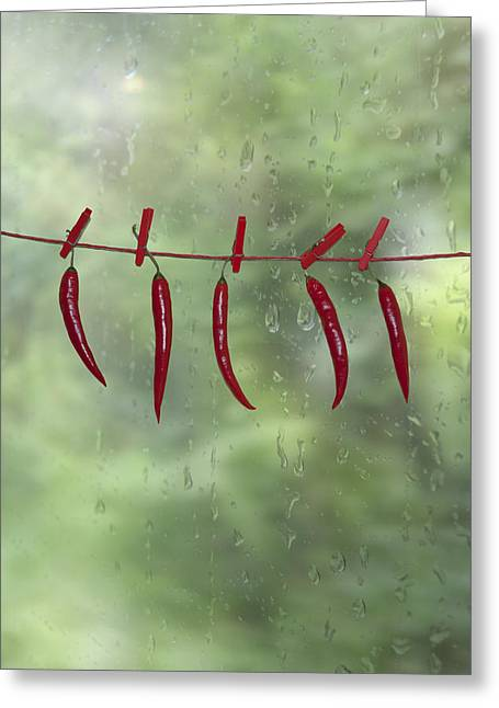 Clothes Line Greeting Cards - Chillies Greeting Card by Joana Kruse