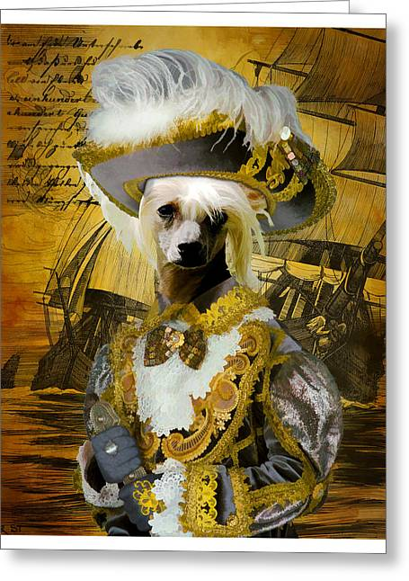 Dog Prints Photographs Greeting Cards - Chinese Crested Art Canvas Print Greeting Card by Sandra Sij