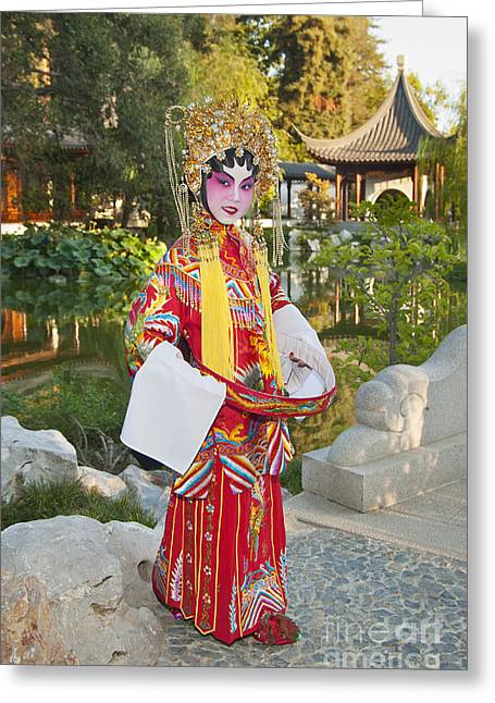 Escort Girl Greeting Cards - Chinese Opera Girl - In full traditional Chinese Opera costumes. Greeting Card by Jamie Pham