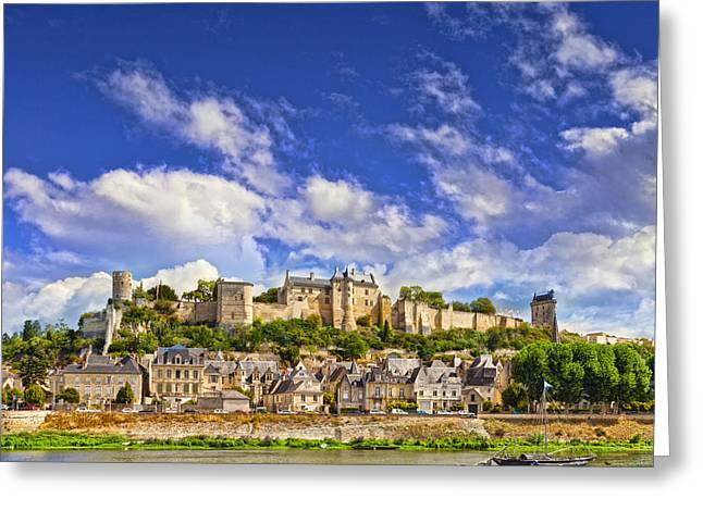 Town Square Greeting Cards - Chinon Loire Valley France Greeting Card by Colin and Linda McKie