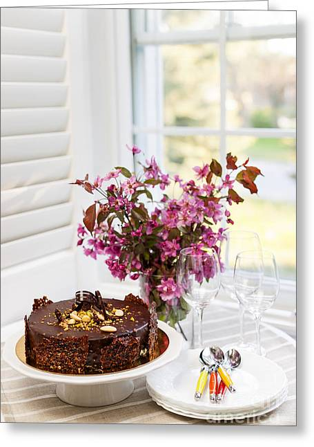 Uncut Greeting Cards - Chocolate cake Greeting Card by Elena Elisseeva