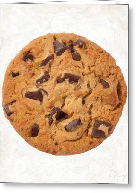 Single Object Paintings Greeting Cards - Chocolate Chip Cookie  Greeting Card by Danny Smythe