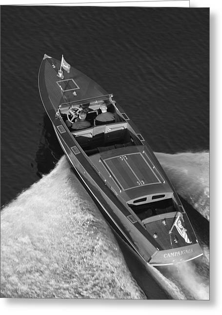 Chris Craft Aerial Greeting Card by Steven Lapkin