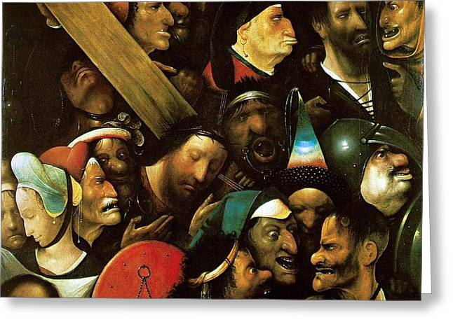 1510 Paintings Greeting Cards - Christ Carrying the Cross Greeting Card by Hieronymus Bosch