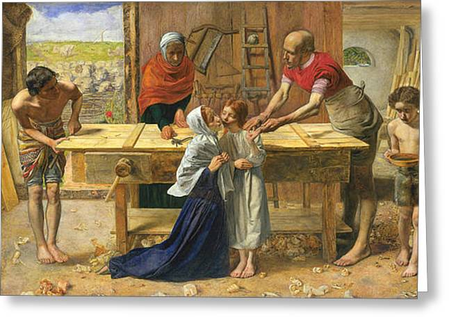 The Houses Greeting Cards - Christ in the House of His Parents  Greeting Card by John Everett Millais