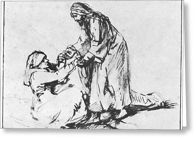 Christ In The Storm Greeting Cards - Christ helping up lady Greeting Card by Rembrandt
