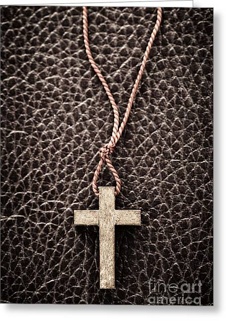 Spirituality Greeting Cards - Christian Cross on Bible Greeting Card by Elena Elisseeva