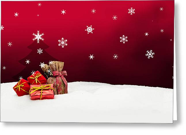 Wintry Greeting Cards - Christmas background - Christmas tree - gifts - red - Snow Greeting Card by Michael Kuelbel