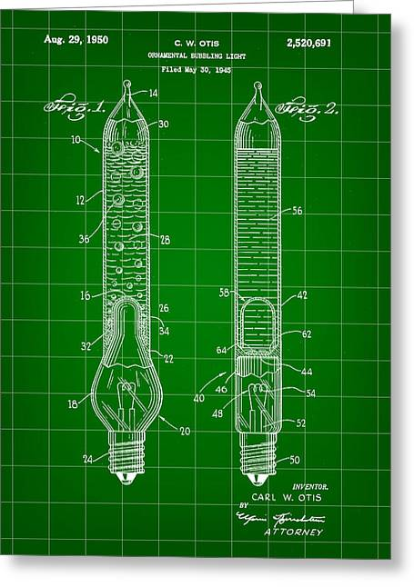 Rudolph Digital Art Greeting Cards - Christmas Bubbling Light Bulb Patent 1945 - Green Greeting Card by Stephen Younts