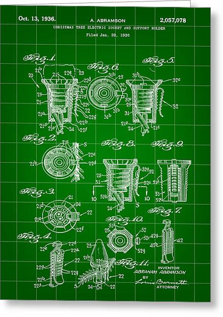 Rudolph Greeting Cards - Christmas Bulb Socket Patent 1936 - Green Greeting Card by Stephen Younts
