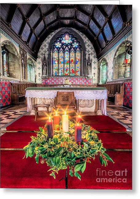 Christmas Candles Greeting Card by Adrian Evans