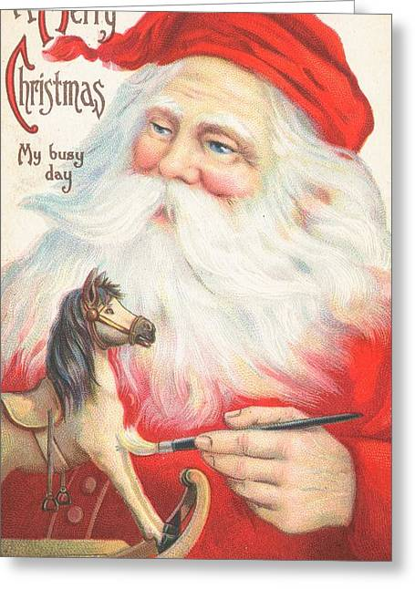 Old Saint Nick Greeting Cards - Christmas card Greeting Card by British School