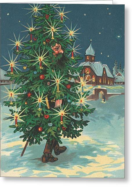 Xmas Tree Greeting Cards - Christmas card Greeting Card by English School