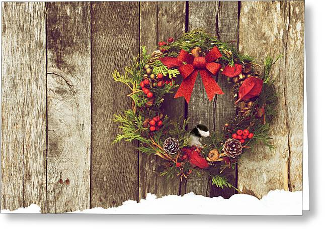 Best Sellers -  - Wildlife Celebration Greeting Cards - Christmas Chickadee. Greeting Card by Kelly Nelson