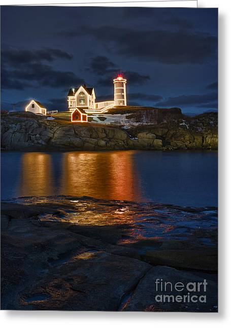 Cape Neddick Lighthouse Greeting Cards - Christmas Nubble Greeting Card by Steven Ralser