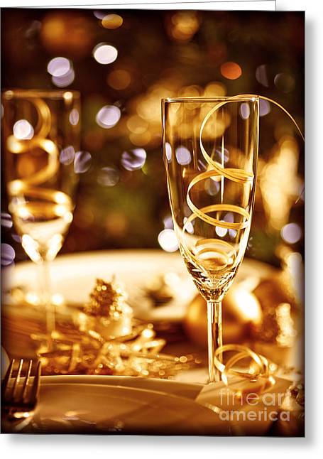 Sparkling Wine Greeting Cards - Christmas table setting Greeting Card by Anna Omelchenko
