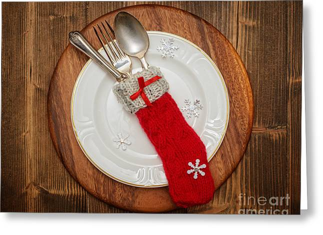 Antique Table Greeting Cards - Christmas Table Setting Greeting Card by Amanda And Christopher Elwell