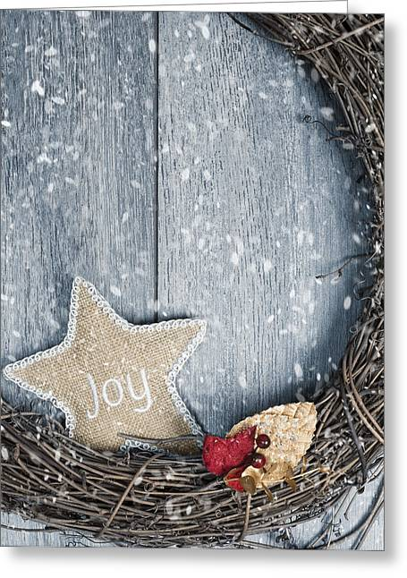 Christmas Doors Greeting Cards - Christmas Wreath Greeting Card by Amanda And Christopher Elwell