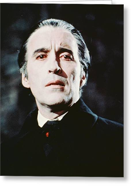 Dracula Greeting Cards - Christopher Lee in Dracula Has Risen from the Grave  Greeting Card by Silver Screen
