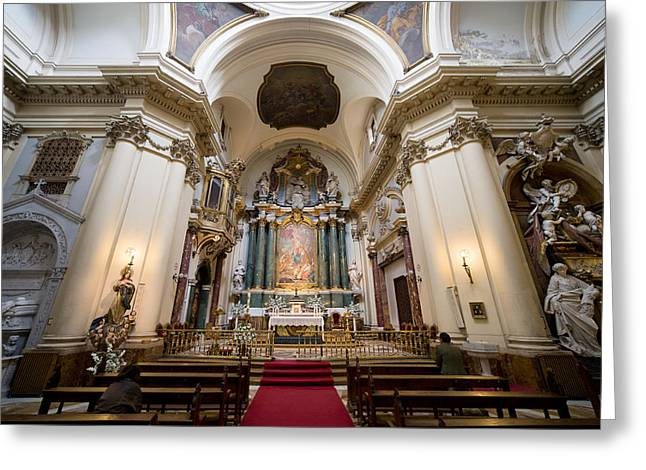 Sculpture Relief Greeting Cards - Church of Santa Barbara Interior in Madrid Greeting Card by Artur Bogacki