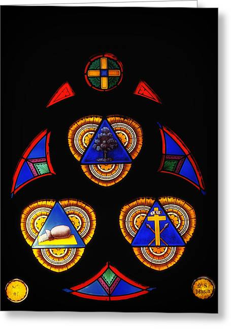 Faith Glass Greeting Cards - Church Stained Glass Greeting Card by Mountain Dreams
