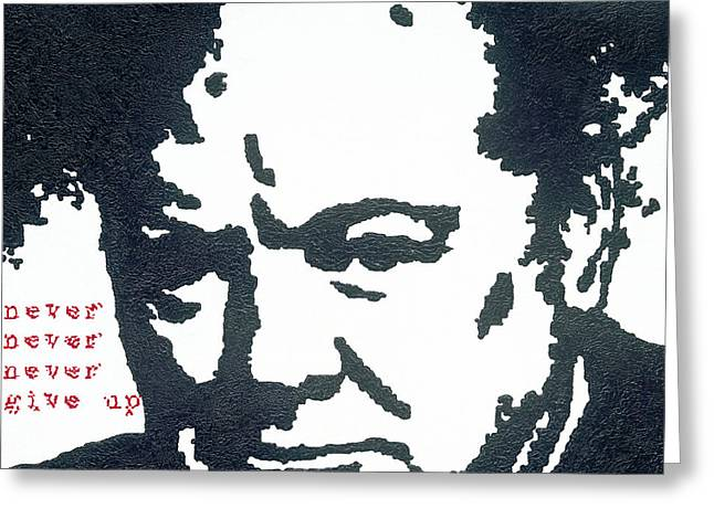 British Bulldog Greeting Cards - Churchill Greeting Card by Barry Novis