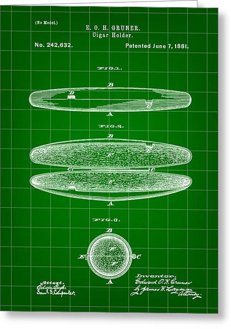 Cigar Holder Patent 1881 - Green Greeting Card by Stephen Younts